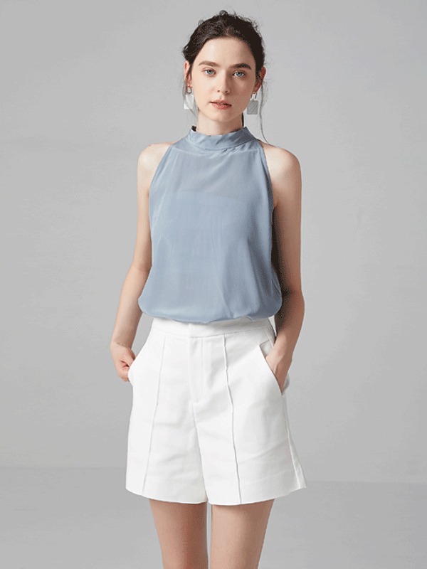 Nattier Blue sleeveless Bowtie Neckline Silk Blouse、Real Silk Life
