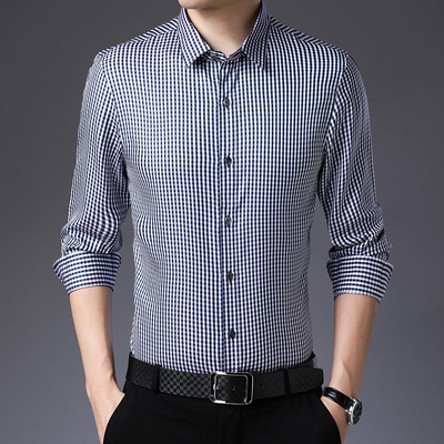 Men Fitted Lattice Long Sleeves Silk Shirt、Real Silk Life