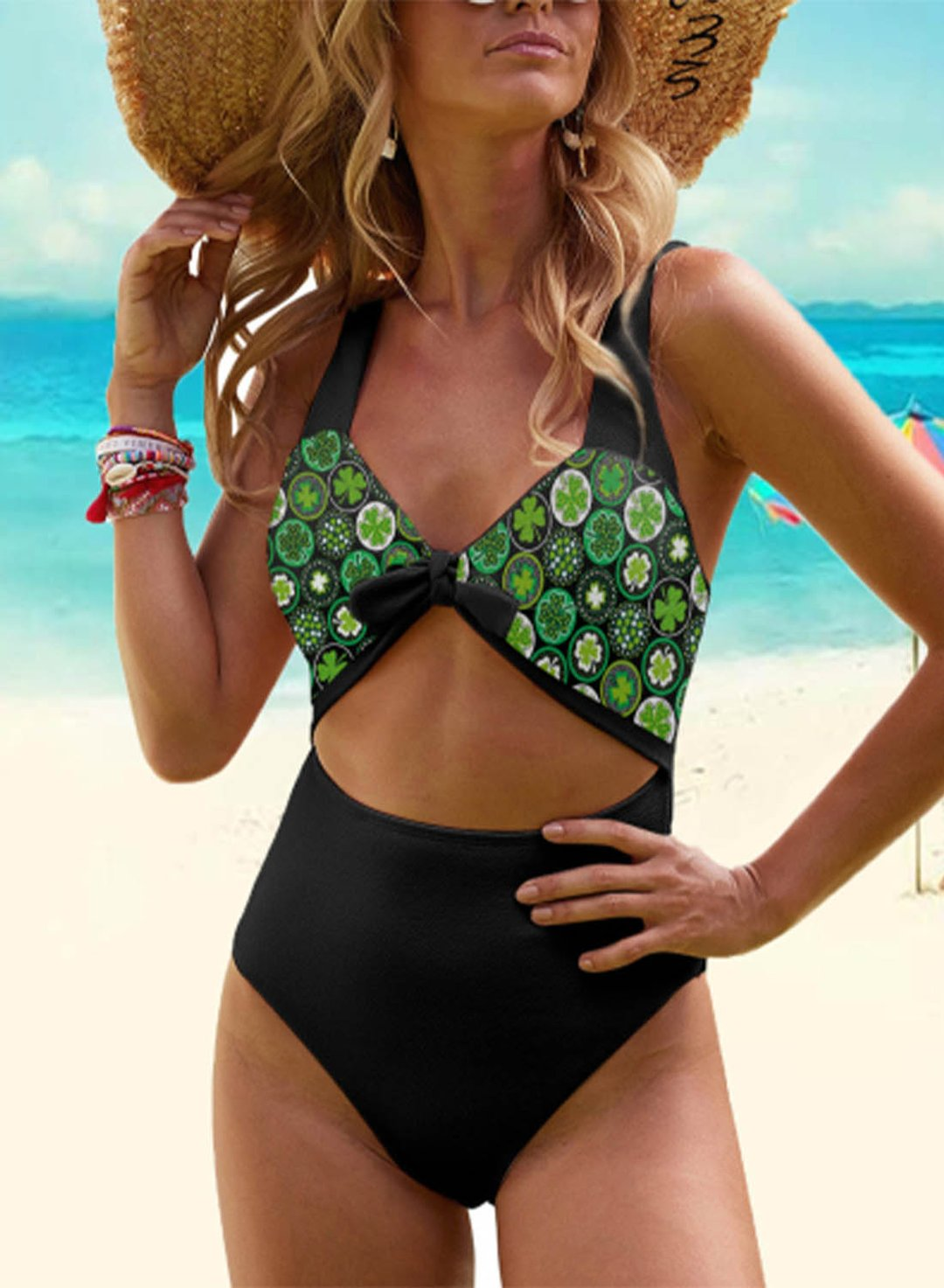Black Women's Swimsuits Color Block Fruits Plants Padded Sleeveless Unadjustable V Neck Knot One-piece Swimsuit LC44673-2