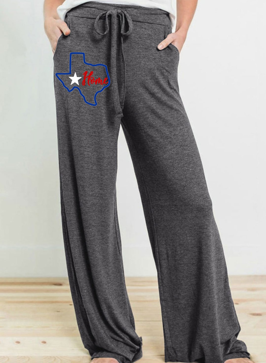 Gray Women's Palazzo Pants Straight Texas Independence Day High Waist Drawstring Palazzo Pants LC771559-11