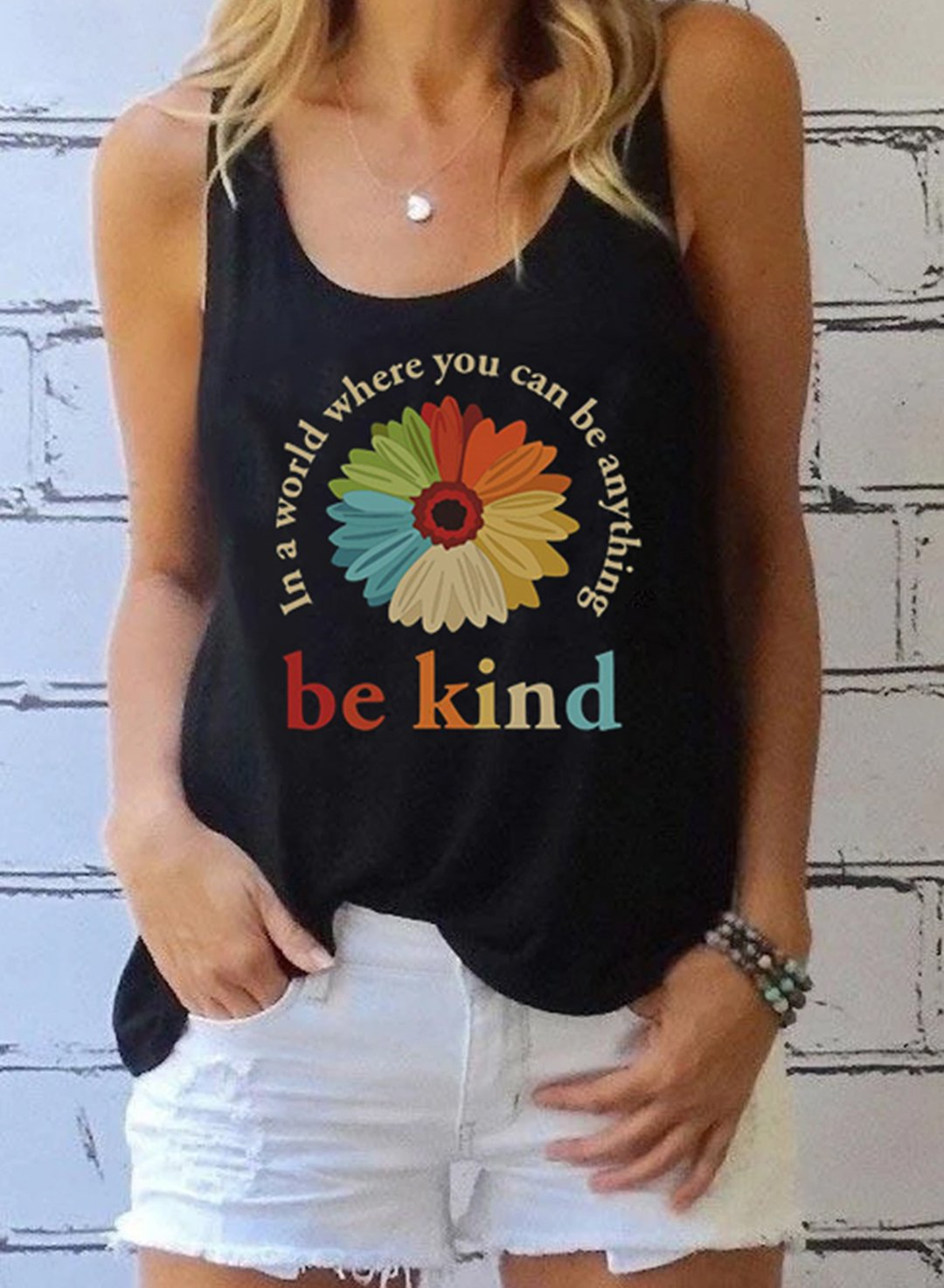 Black Women's Tank Tops Sunflower Slogan Tank Tops LC2526477-2