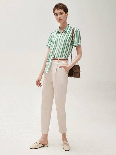 Green Strip Short Sleeves Silk Blouse、Real Silk Life