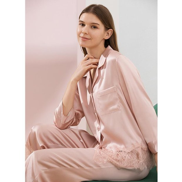 19 Momme 2020 Classic Lace Silk Pajamas、Real Silk Life