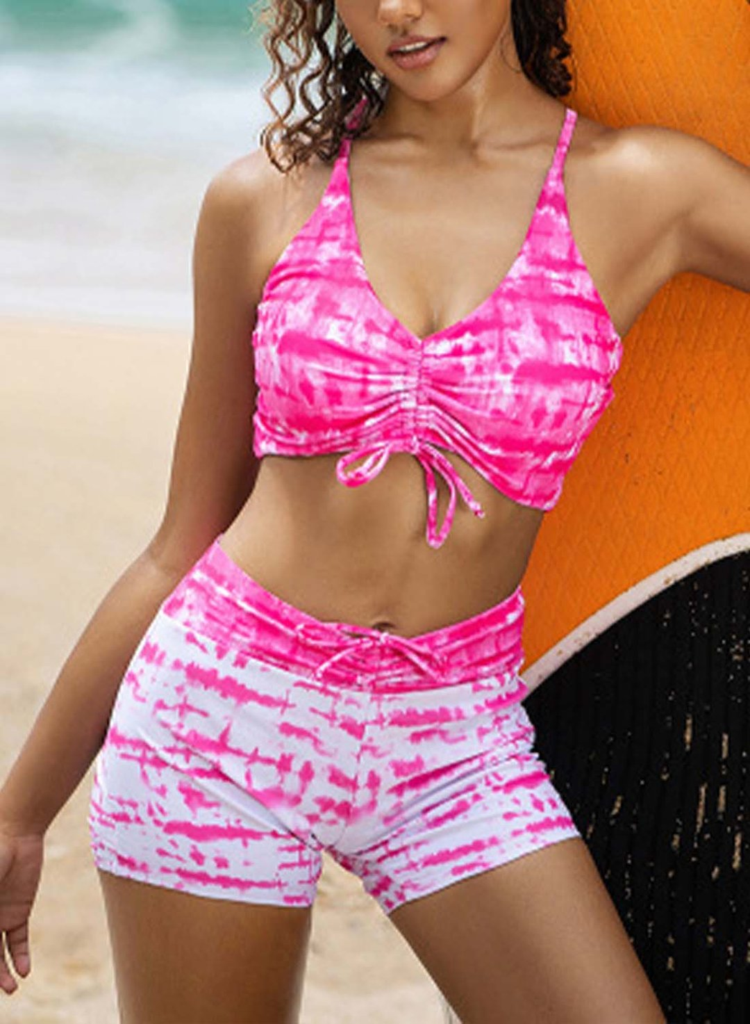 Pink Women's Bikinis Mid Waist Color Block Sleeveless Spaghetti Wire-free Unadjustable Knot Casual Bikini Suit LC43831-10