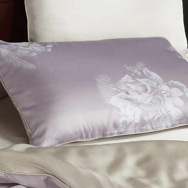 19 Momme Violet Printed Single Side Mulberry Silk Pillowcase | Pillowcases 2pcs、amoursilk