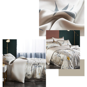 19 Momme Anthemy Printed Silk Duvet Cover Set | 4pcs、Real Silk Life