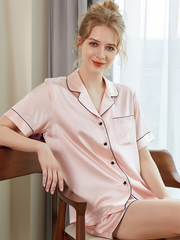 High Quality 22 Momme Silk Short Pajamas With Heart Stone | Multi-Colors Selected、Real Silk Life