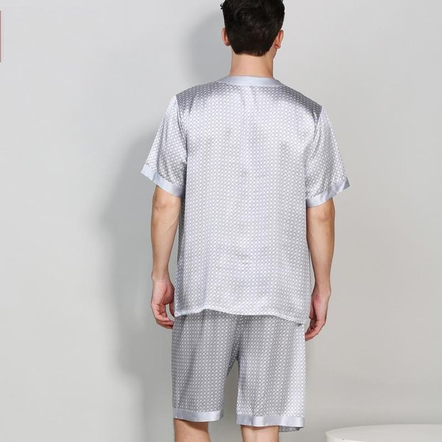 19 Momme Life Style Basic Silk Pajamas Set for Men、Real Silk Life