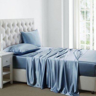 19 Momme Silk Sheets Set | 4pcs US-King-Blue、Real Silk Life