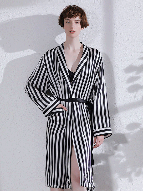 High Quality Zebra Stripe Printed Silk Robe For Women、Real Silk Life