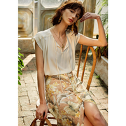 Short Sleeves Silk Blouse With Belt Neckline、Real Silk Life