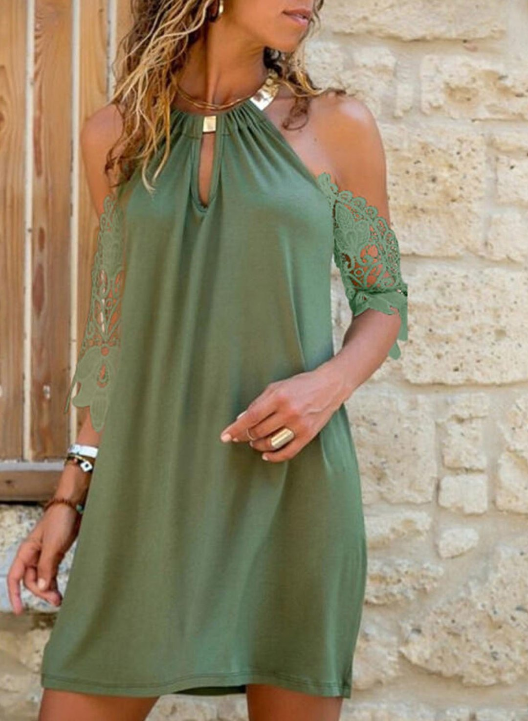 Green Women's Mini Dresses Lace Halter Cold Shoulder Half Sleeve Vacation Dress LC225817-9