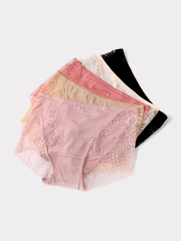 Lace Decorated Silk Panty 5 Pack、Real Silk Life