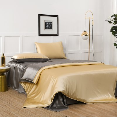 19 Momme High Quality Double Color Silk Bedding Set 4PC 丨 Gold & Gray、Real Silk Life