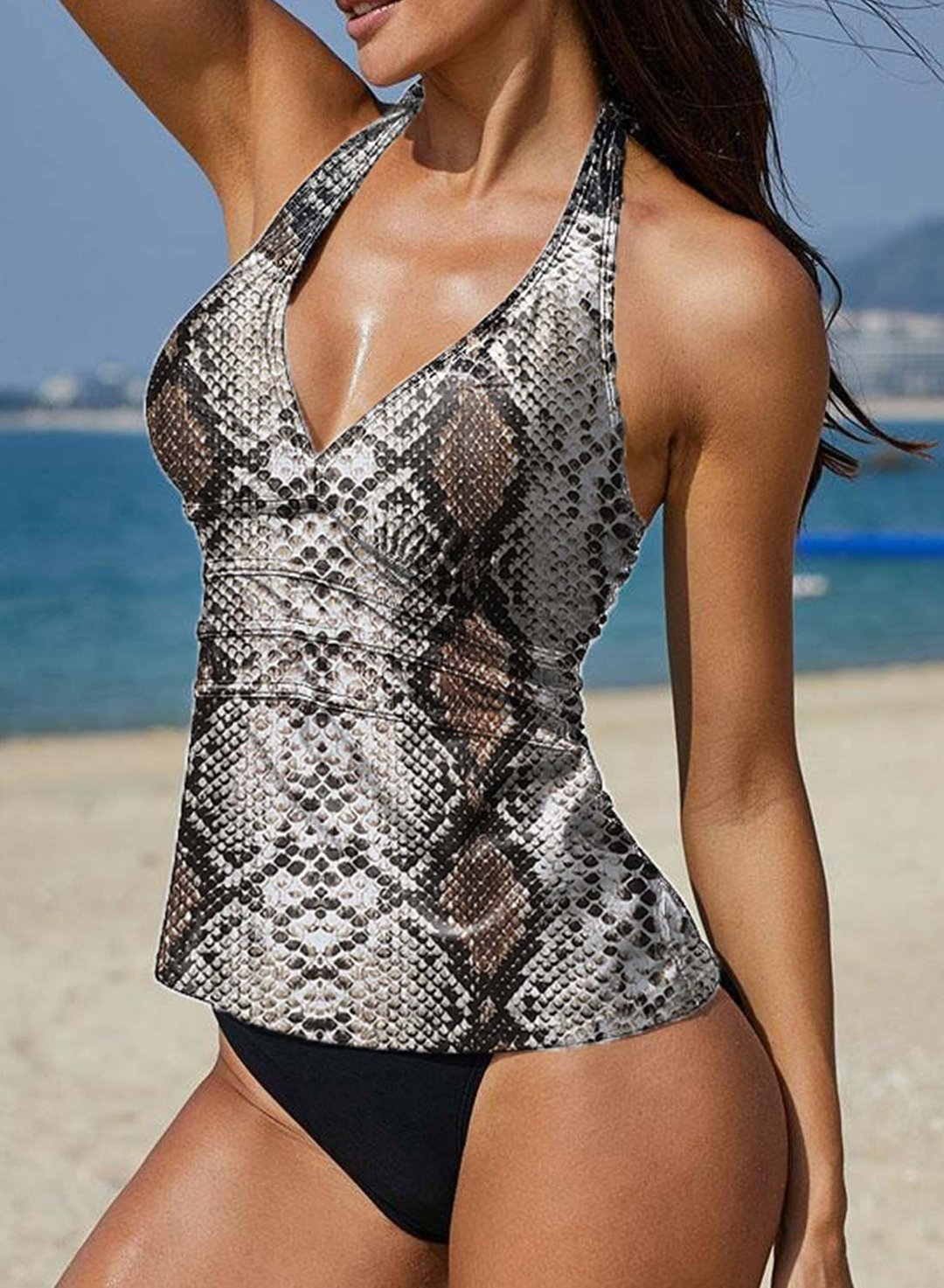 Black Women's Tankinis High Cut Snake Print Tankini LC413975-2