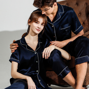Monogrammed 19 Momme Short Sleeves Classic Silk Pajamas Set For Couple、Real Silk Life