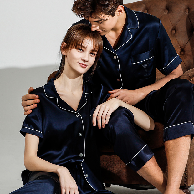19 Momme Short Sleeves Classic Silk Pajamas Set For Couple、REAL SILK LIFE