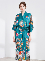 25 Momme Blue Kimono Flower Silk Robe、Real Silk Life