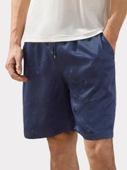 22 Momme Blue Star Printed Silk Short Pant For Men | Could Be Worn Outside、REAL SILK LIFE