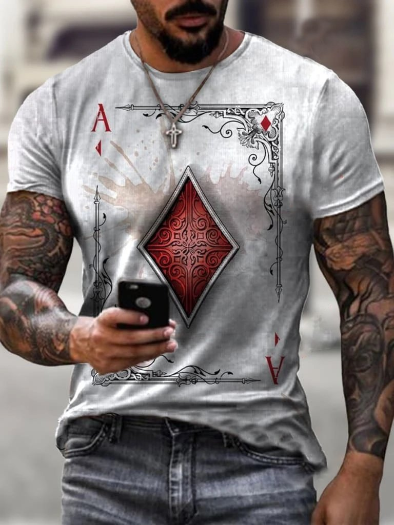 Playing cards diamond square print T-shirt / [viawink] /