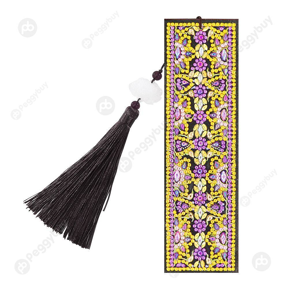 Peggybuy coupon: Purple Flowers-DIY Crative Diamond Tassel Bookmark