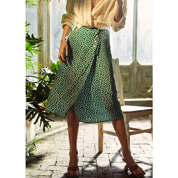 Green Flower Field Silk Skirt、Real Silk Life