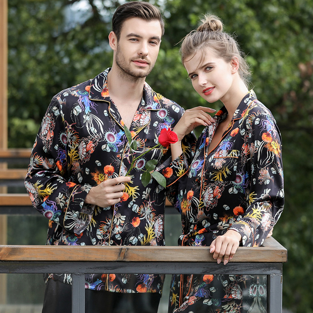 19 Momme Flowers Printed Long Sleeves Classic Silk Pajamas Set For Couple、REAL SILK LIFE