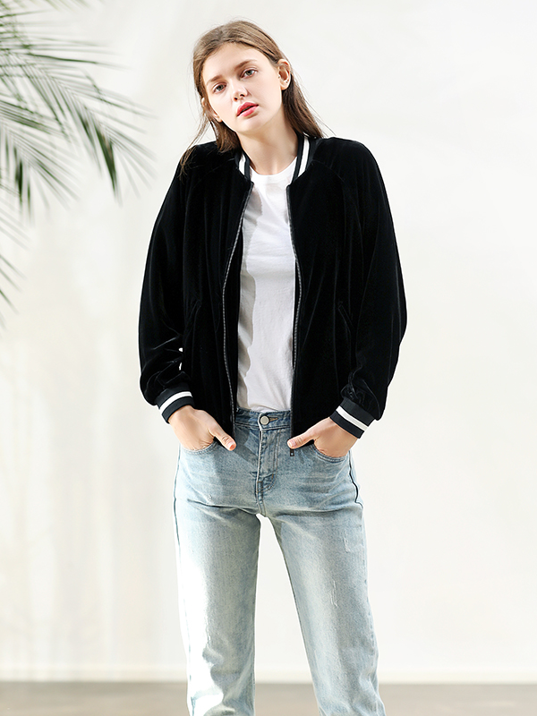 Silk Velvet Short Jacket With Basic Zipper For Women、Real Silk Life