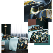 19 Momme Oriental Divine Printed Silk Duvet Cover Set | 4pcs、Real Silk Life