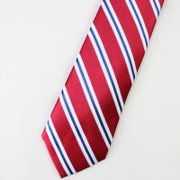 US Stripe Red Silk Tie、Real Silk Life