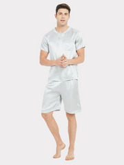 19 Momme Short Pajamas Set For Men | Two Colors Selected、real-silk-life