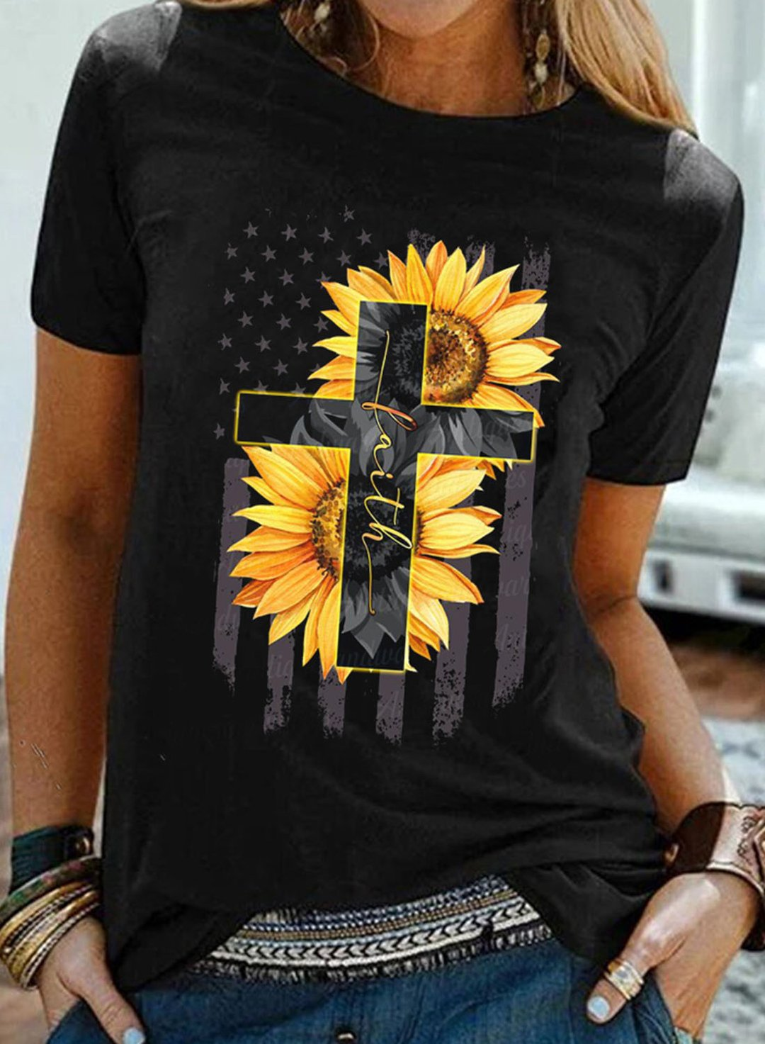 Black Women's T-shirts Sunflower Cross T-shirt LC2525913-2