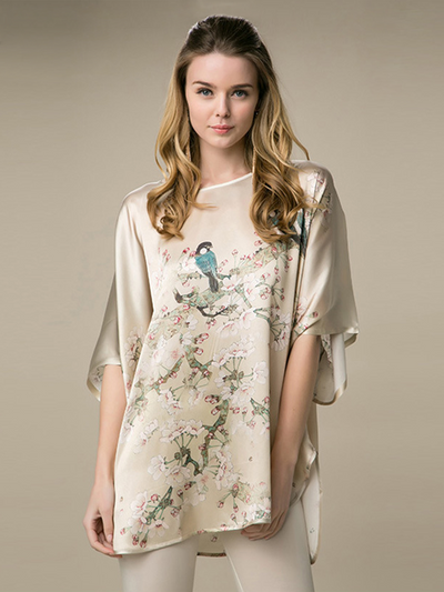 19 Momme Oriental Floral Printed Loose Silk Nightgown、Real Silk Life