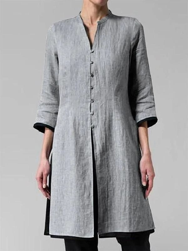 Ladies solid color cotton linen sleeve shirt - toplula