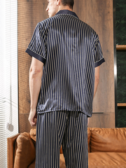 22 Momme Lurury Stripped Silk Pajamas Set For Men、Real Silk Life
