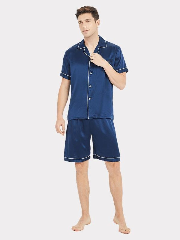 Monogrammed 19 Momme Classic Short Pajamas Set For Men、Real Silk Life