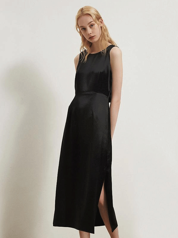 Women Black Luxurious Silk Dress、Real Silk Life