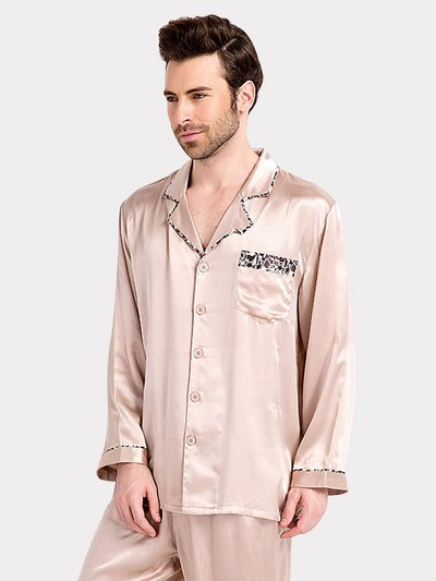 22 Momme High Quality Beige Silk Pajamas Set For Men、Real Silk Life
