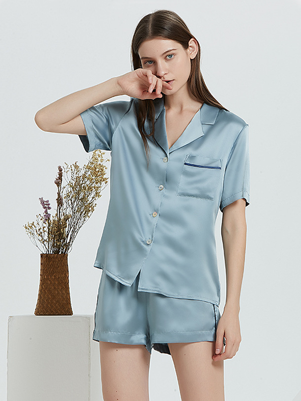 22 Momme High Quality Blue Casual Short Silk Pajamas Set