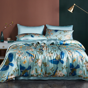 19 Momme Oriental Bird Printed Silk Duvet Cover Set | 4pcs、Real Silk Life