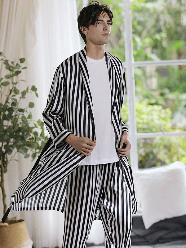 High Quality Zebra Stripe Printed Silk Robe For Men、Real Silk Life