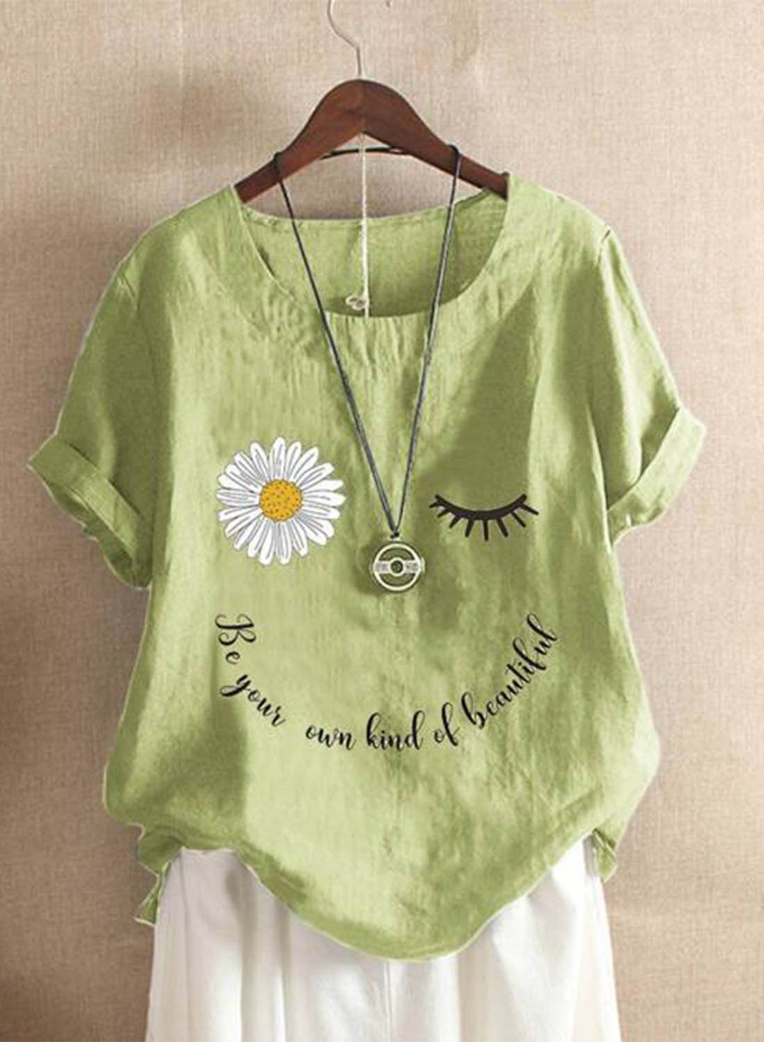 Green Women's T-shirts Casual Solid Floral Letter Round Neck Short Sleeve Daily Casual T-shirts LC2516904-9