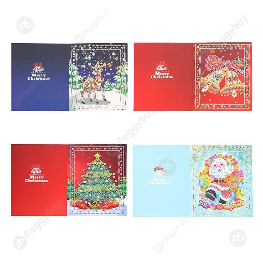 Peggybuy coupon: 4pcs Christmas-Creative Diamond Greeting Card