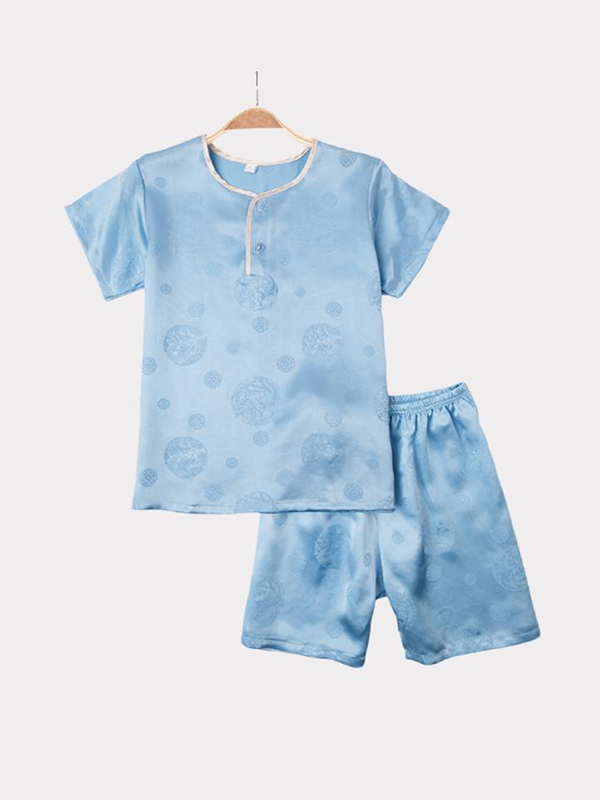 Blue Silk Pajamas For Kids、REAL SILK LIFE