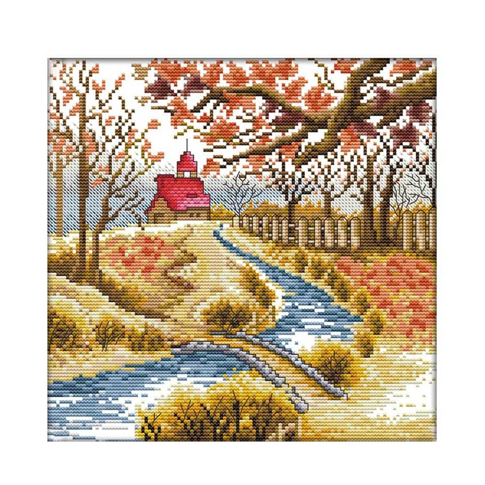 Autumn - 14CT Stamped Cross Stitch - 29*29cm
