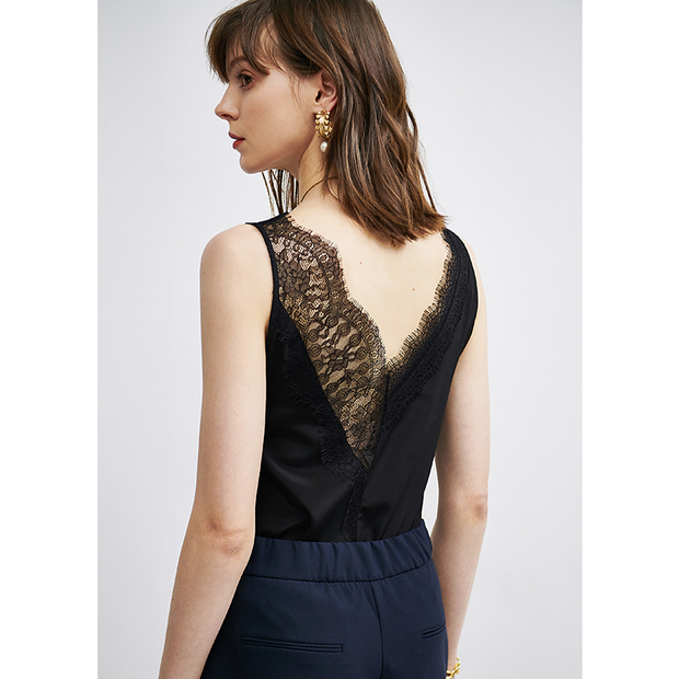 Solid Lace V-neck Silk Camisoles、Real Silk Life