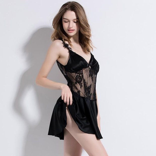 19 Momme Black Sexy Silk Nightgown、Real Silk Life