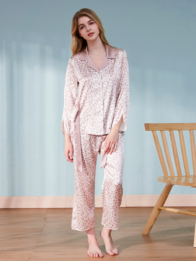 Casual V Neck Printed Silk Pajamas Set、Real Silk Life