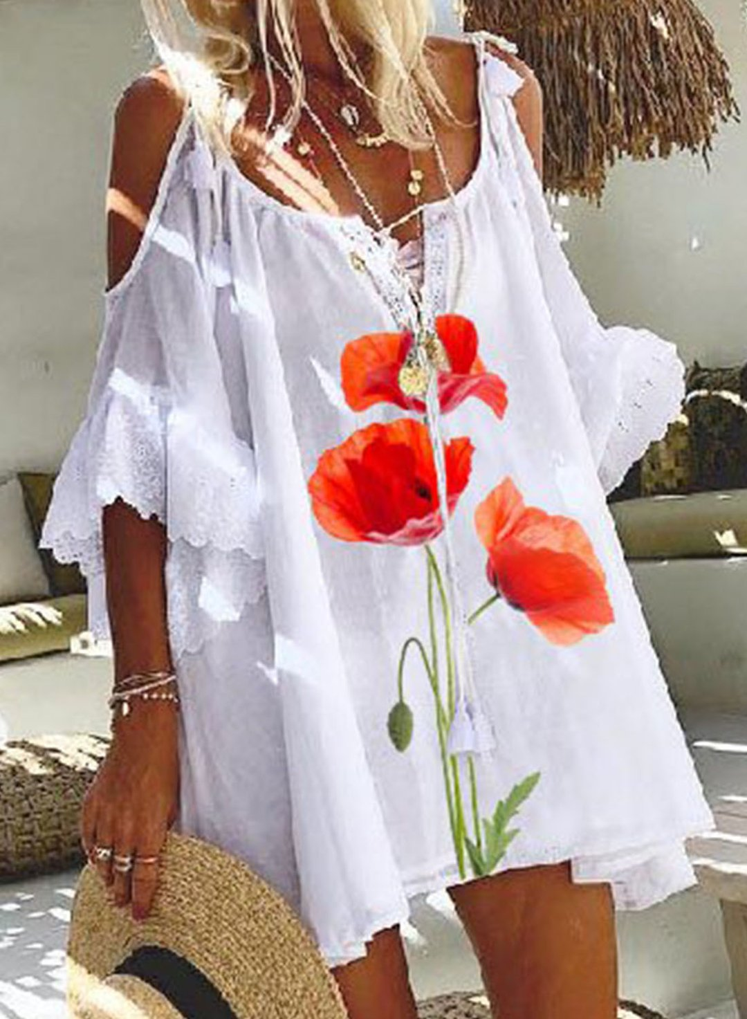 White Women's Mini Dresses Fashion Floral Half Sleeve V Neck Cold Shoulder Lace Drawstring Dress LC225485-1