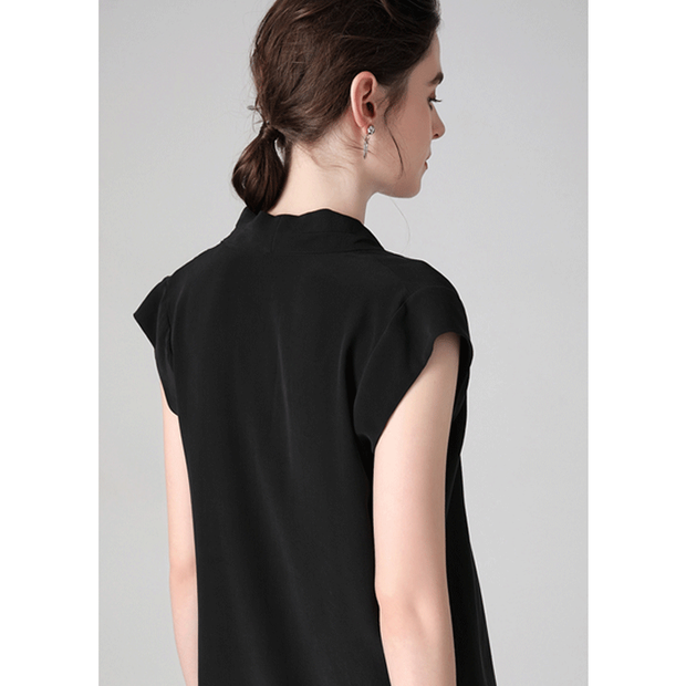 Black Sleeveless V-neck Silk Blouse、Real Silk Life